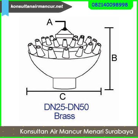 Ukuran dan diameter nozzle air mancur