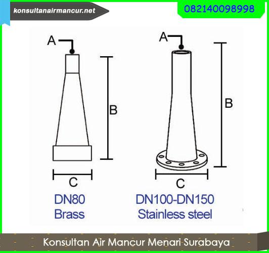 Ukuran diameter Nozzle water fountain superhight