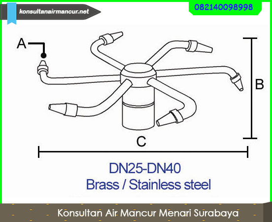 Ukuran rotating nozzle air mancur menari